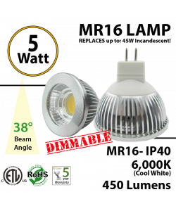 MR16 5W Spot COB 450Lm 6000K Dimmable Clear lens IP40 ETL