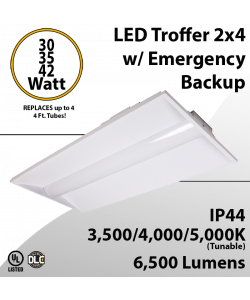 2x4 LED Troffer Light up to 42W 6500Lm CCT Tunable W/ Emergency Backup