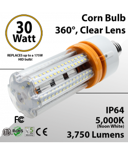 LED Corn Bulb 30W 3750Lm 5000K E26 / E39* IP64 ETL DLC