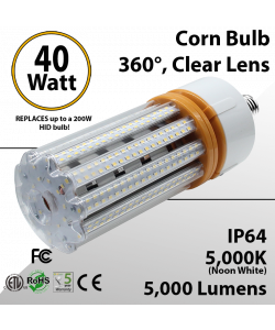 LED Corn Bulb 40W 5000Lm 5000K E26 / E39* IP64 ETL DLC