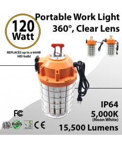 Temporary Portable Work Light 120W 15500Lm 5000K IP64 ETL
