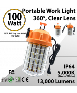 Temporary Construction Light Linkable 100W 13000Lm 5000K IP64 ETL