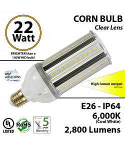 22W LED Corn Bulb Lamp 2800Lm 6000K E26 IP64  UL