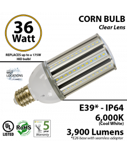 36W LED Corn Bulb Lamp 3900Lm 6000K IP64 E39* UL