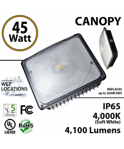 45W LED Canopy Light Ceiling Mount: 4000K UL IP65