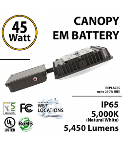 45W LED Canopy Light w/Battery Backup 5000K 5450 Lumens