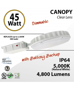 45W LED Canopy Light w/Battery Backup 5000K DIM 4800 Lumens