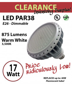 17 Watt LED PAR 38 Design Energy Efficient Indoor Replacement Bulb 100 dimmable