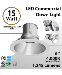 LED commercial down light 15W 6 inches 1245lm Energy Star dimmable