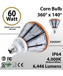 LED Corn Bulb 60W 6446Lm 4000K E26/E39* IP64 UL DLC