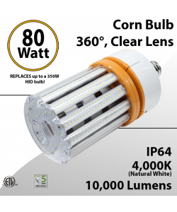Corn Cob LED Bulb 80W 10000Lm 4000K E39 IP64 ETL
