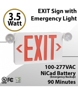 EXIT sign with Emergency Light Combo 90 minute discharge 3.5W with Battery