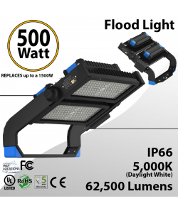 500W Flood light 67085 lumens rotatable heads UL and DLC