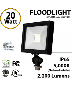 Flood lights outdoor 20W 2370Lm equals 100W MH and 200W Halogen 5000K IP65 UL DLC