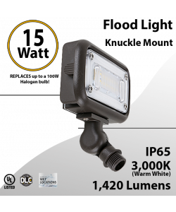 Flood light 15W LED 1420Lm 3000K IP65 UL DLC