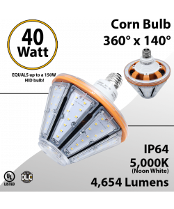 LED Corn Bulb 40W 4654Lm 5000K E26 IP64 UL DLC