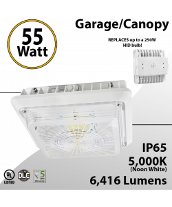 LED Canopy Light and Garage Lighting 55W 5000K 6416 Lumens