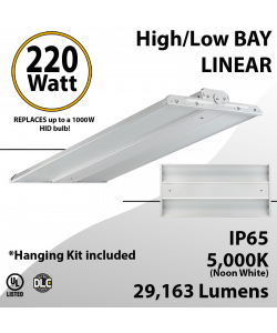 High Bay LED Light 2Ft. 220W 29163 Lumens 5000K UL DLC