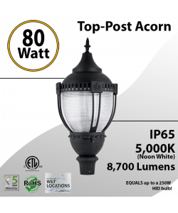 Post Top Acorn Decoration Light 80W 8700Lm 5000K