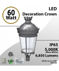 Post Top Crown Decoration Light 60W 6850Lm 5000K