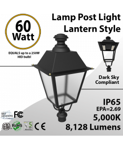 Post Light 60W LED Lantern Style 8128 Lm 5000K ETL DLC