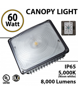 LED Canopy Light Parking Garage Lighting 60W 5000K 8000 Lm UL DLC IP65