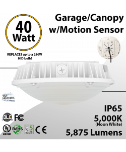 40W LED Canopy Light Motion Sensor 5000K 5875 Lumens UL DLC