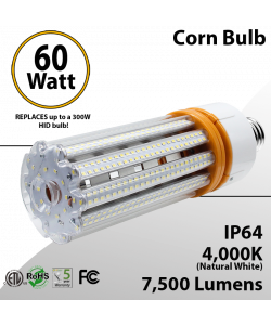 LED Corn Bulb 60W 7500Lm 4000K E26 / E39* IP64 ETL DLC