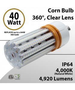 LED Corn Bulb 40W 4920Lm 4000K E26 / E39* IP64 ETL