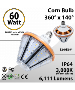 LED Corn Bulb 60W 6111Lm 3000K E26/E39* IP64 UL DLC