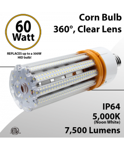 LED Corn Bulb 60W 7500Lm 5000K E26 / E39* IP64 ETL DLC