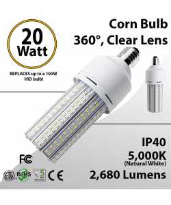 LED Corn Bulb 20 Watt 2680 Lm 5000K E26 IP40 ETL DLC