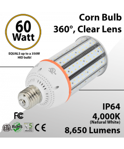 LED Corn Cob 60W 8650Lm 4000K E26 / E39* IP64 ETL DLC