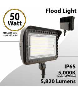LED flood light 50W 5000K with knuckle mount 5820 lumens