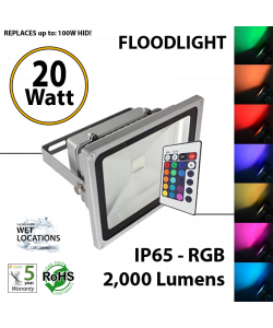20W LED Floodlight 2000Lm RGB remote Control IP65.