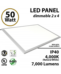 LED Panel Light 2x4 50W 4000K 7000 lumens UL DLC