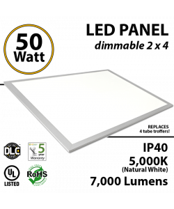 LED Panel Light 2x4 50W 5000K 7000 lumens UL DLC