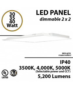 LED Panel Light 2x2 30W 35W 40W 5200 Lm Back lit 3500K 4000K 5000K UL/DLC