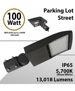 100W LED Shoebox Street Light fixture 13018Lm 5000K UL IP67 DLC