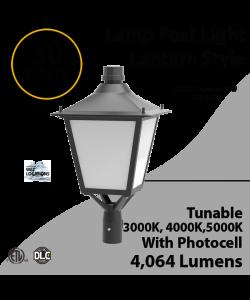 LED Post Light 30W LED Lantern Style 4064Lm 3000K 4000K 5000K Photocell