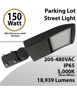 LED Street Light fixture 150W 480V 18939Lm 5000K UL IP67 DLC