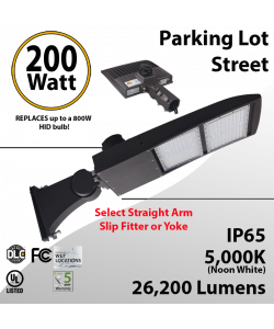 200W LED Shoebox Street Light fixture 26200Lm 5000K UL IP67 DLC