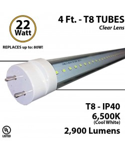 LED Tube Light 22W 4ft 2900Lm, 6500K Clear IP40 UL 2 end power