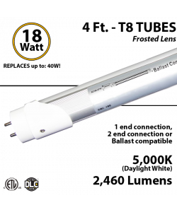 LED Tube light 18W 2460Lm, 5000K Frosted IP40 UL DLC Hybrid 1-2