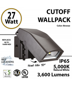 LED Wall Pack light 27W 3600Lm 5000K IP65 UL DLC