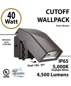 40W Full Cut-Off LED Wall Pack Fixture: 4500Lm 5000K IP65