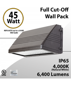 LED Wal Pack Lights 45W 6400 Lm DLC 4000K