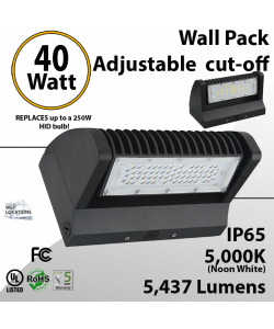 LED Wall Pack 40W 5437 Lumen Adjustable Cut-Off 5000K