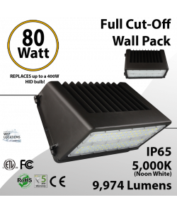 LED Wall Pack Light Full Cut-Off 80W 9974 Lm DLC 5000K