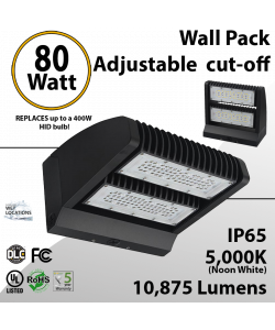 LED Wall Pack 80W 10875 Lumen Adjustable Cut-Off 5000K